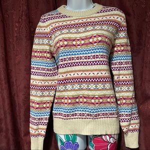 J Crew Beige Pink Holiday Crew Neck Sweater